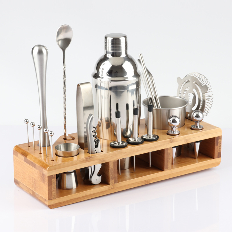 Customized silver cocktail bar accessories 12pcs set stainless steel shaker cocktail gift barware tool set bamboo wood stand