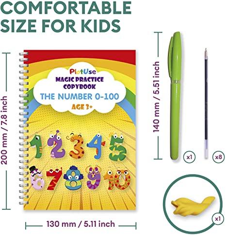 4pcs/set Alphabet Drawing Math Number Reusable Handwriting Calligraphy Book Sank Magic Practice Copybook for Kids