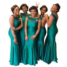 Зеленые платья подружки невесты до 50, Длинные свадебные вечерние платья русалки с бусинами для женщин(Китай)