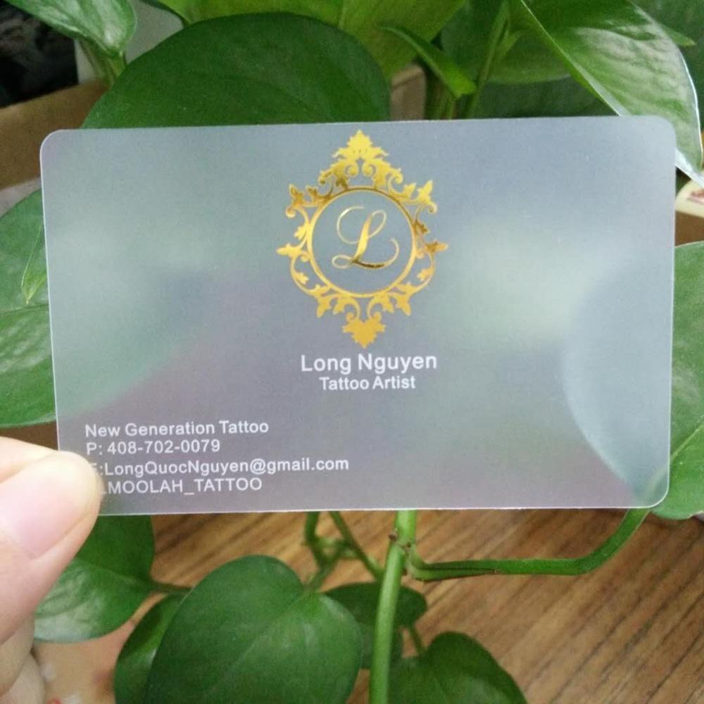 2019 Custom Printed Siver Foil Transparent Plastic Clear PVC Business Card