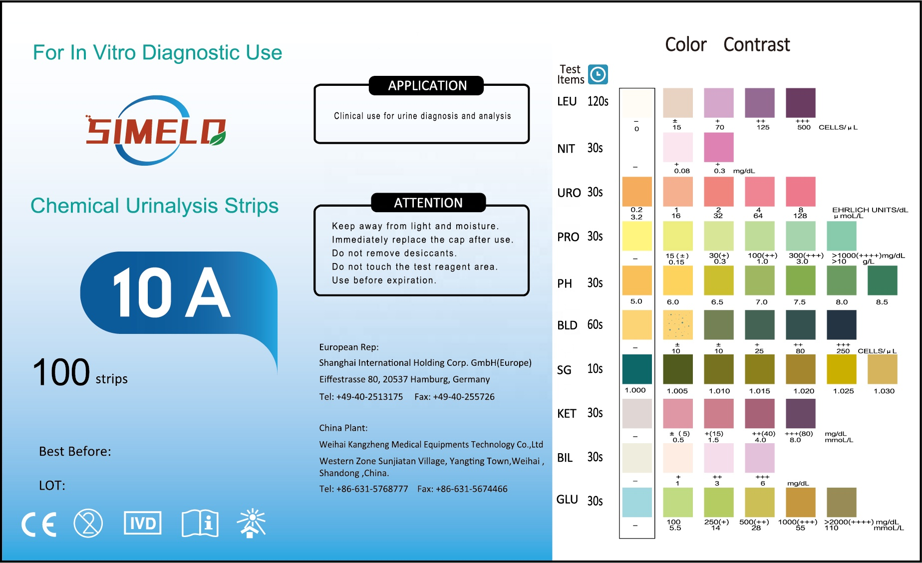 High Quality Chemical Accurate Nitrite 10 Items Urine Testing Strips