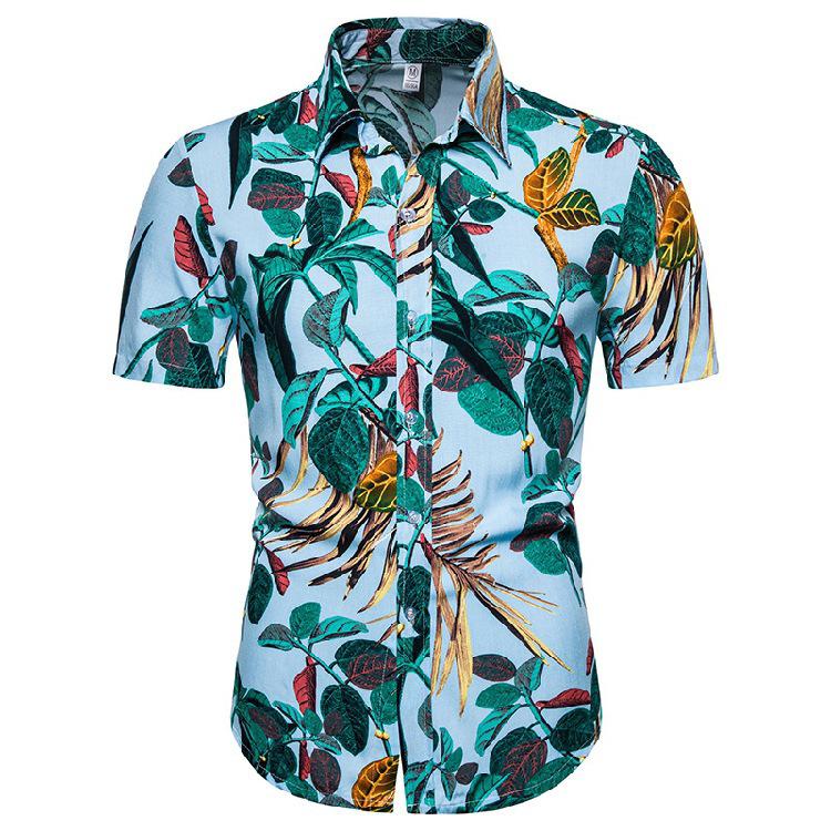 Amazon blasts Men's Flower printing Lapel shirt Casual Button Down Short Sleeve Hawaiian Sandy beach Men's Shirt