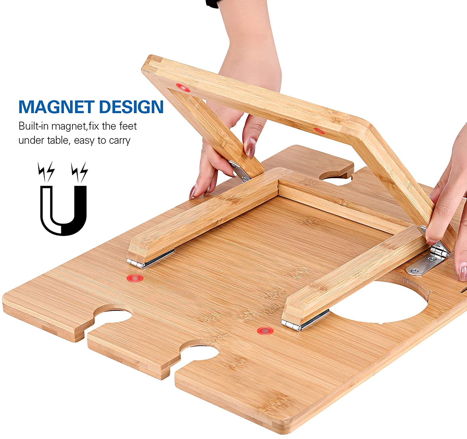 Bamboo Folding Picnic Table With Wine Holder And Wine Glass Holder Bamboo Collapsible Snack Table