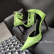 Черные кожаные вечерние туфли на высоком каблуке в стиле знаменитостей; пикантные туфли-лодочки на шпильке с острым носком; модельные туфли...(Китай)