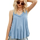 European and American summer new style 2021 women's V-neck irregular hem sleeveless cotton top vest