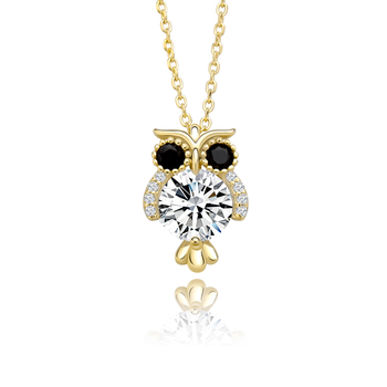 Hip Hop Women Pendant 925 Sterling Silver Glittering Owl Pendant Ice Crystal Zircon Necklace Fashion Charm