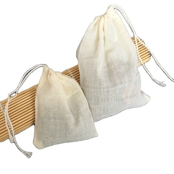 E1015 8*10cm high quality empty drawstring cotton herb tea bag