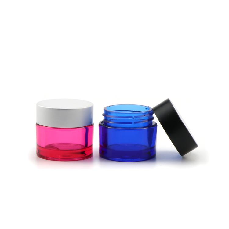 Оптовая продажа, круглые пластиковые банки с крышкой для косметической упаковки, 15 г, 50 г, зеленые, прозрачные, розовые
