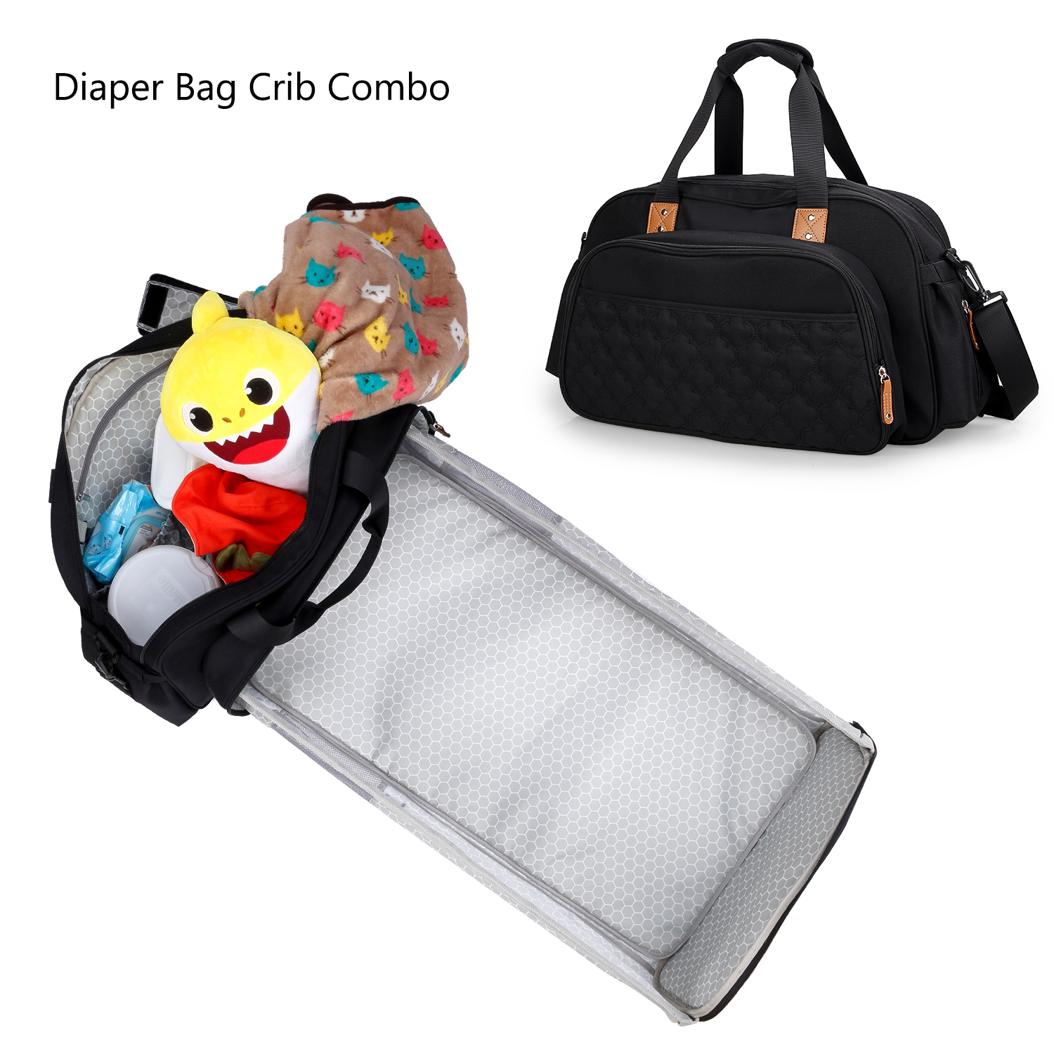 Diaper Bag  with crid beding Travel Bassinet Foldable Baby Bed Baby Bag Portable Crib