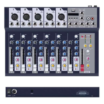 High quality 7 channel mini sound mixer with USB SD MP3 audio dj mixer F7