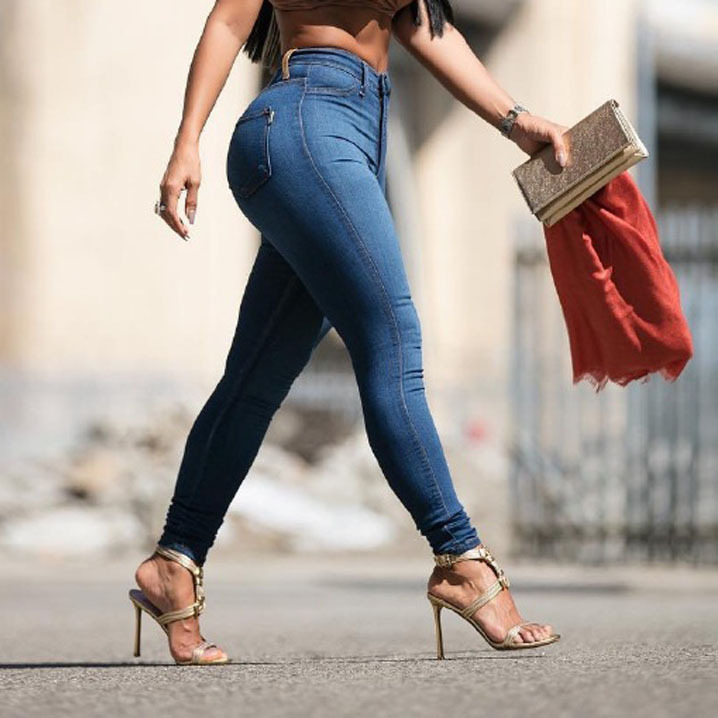 Узкие джинсы YSMARKET для женщин, узкие джинсы с высокой талией, женские синие джинсовые брюки-карандаш, женские джинсы с эластичной талией, E211