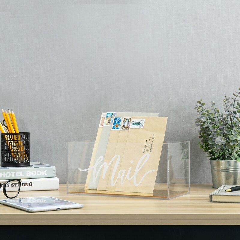 Style Letter Organizer Letter Holder for Desk Acrylic Mail Box Desk Organizer