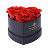 There are 8 roses in the gift box without lid