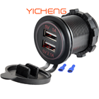 Dual Mobile Phone Car Usb Port 3.1A Car Charger Dual USB Socket 12V USB Charging Port For Bus Boat Marine Mobile Phone