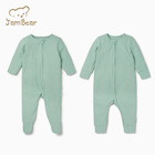 JamBear Baby Plain Rompers Zipper Style kids footed pajamas organic cotton rib Rompers Newborn Zip Through Rompers