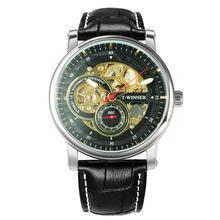 Победитель официальные повседневные часы мужские часы Скелетон автоматические механические часы люксовый бренд кожаный ремешок наручные ...(Китай)