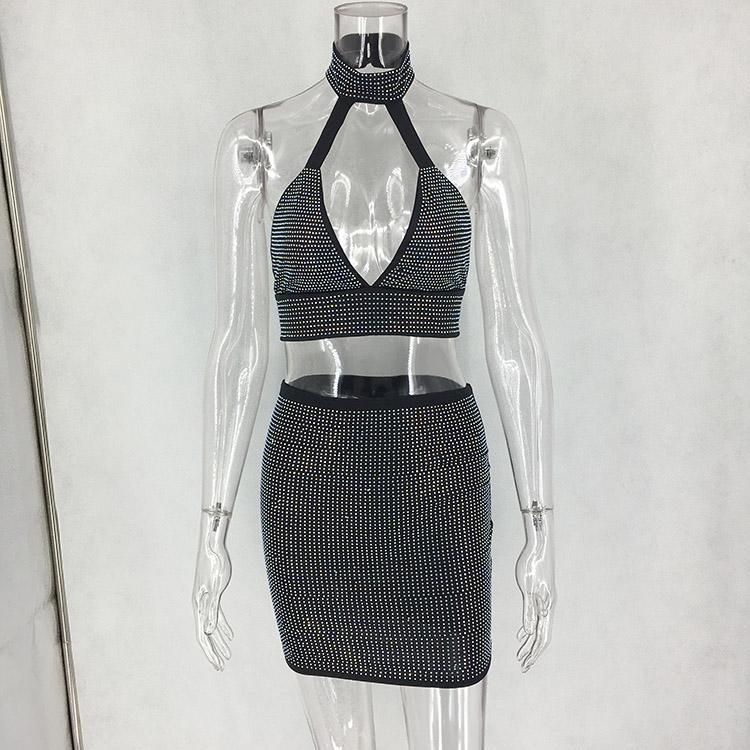 Halter diamond sexy night club bra skirt set women