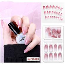 30 шт Новая мода поддельные ногти многоразовые съемные акриловые наклейки ногти нажмите на полное покрытие накладные ногти Типсы Искусство ...(Китай)