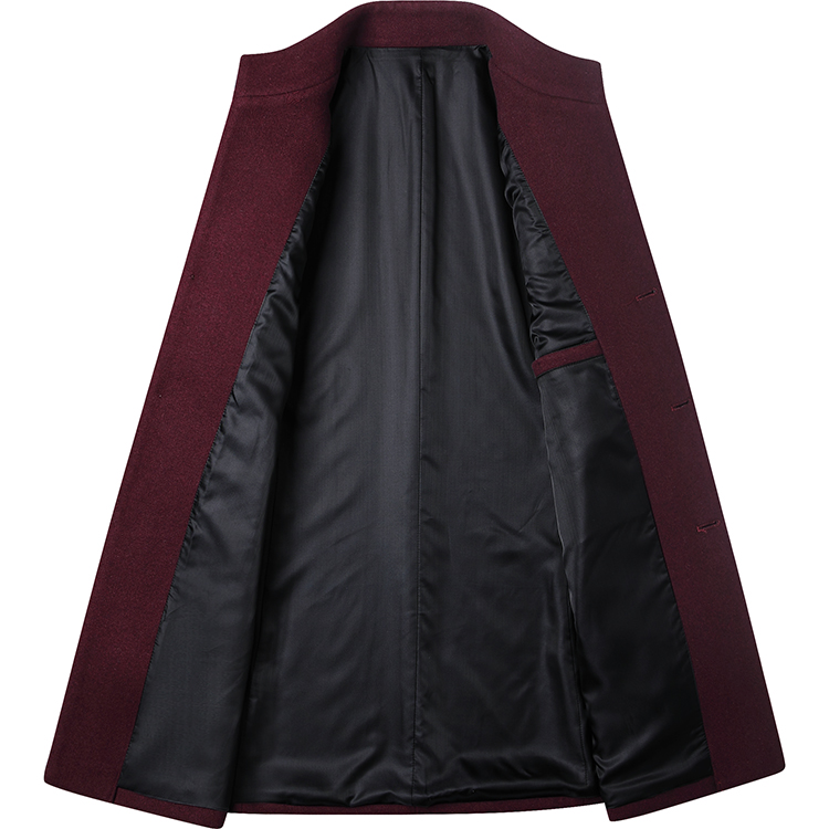 Men's Wool Coat Winter Trench Coat Business Jacket Blend Peacoat Black Gray Color
