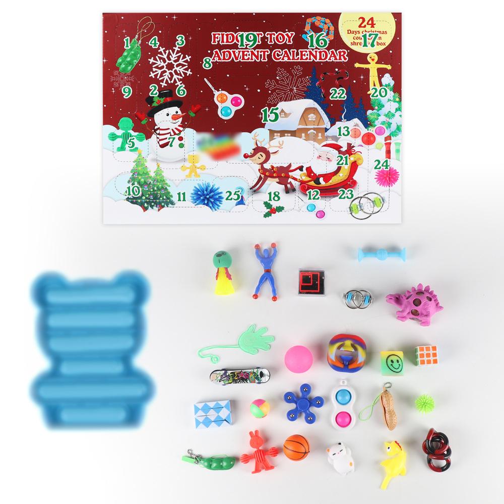 2021 фиджет-календарь, набор дешевых сенсорных фиджет-игрушек для детей и взрослых, фиджет-бокс с мраморной сеткой, антистрессовый мяч и многое другое