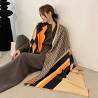 Cashmere Cashmerescarves Autumn And Winter Cashmere Ladies Heavy Shawl All-match Warm Stripe Letter Scarf