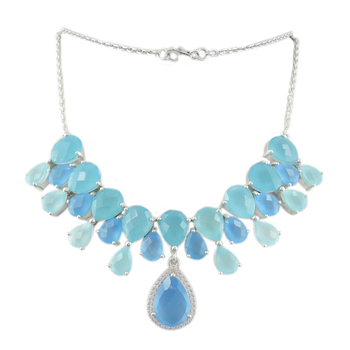 Very impressive Blue Chalcedony, White CZ 925 Sterling Silver Necklace, Indian Fashion Silver Jewellery