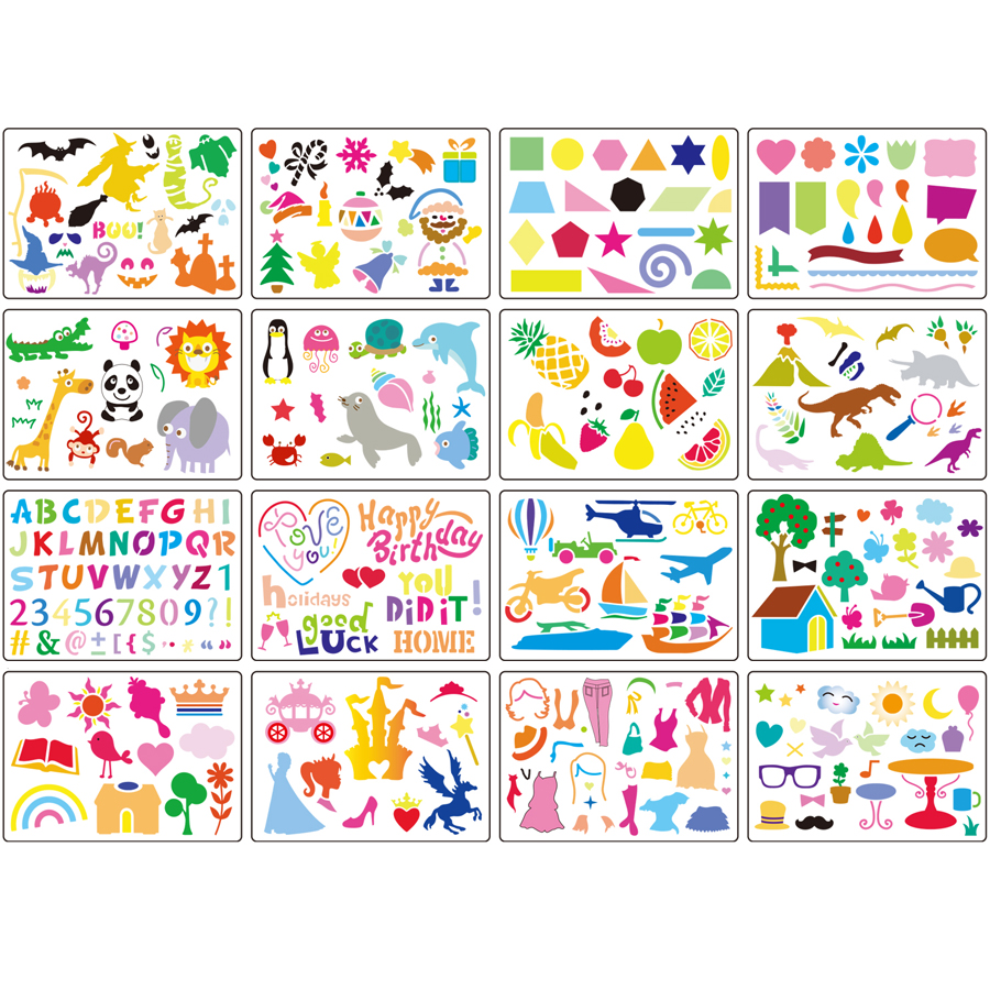 Plastic picture drawing stencils for kids - Washable Template for School Projects