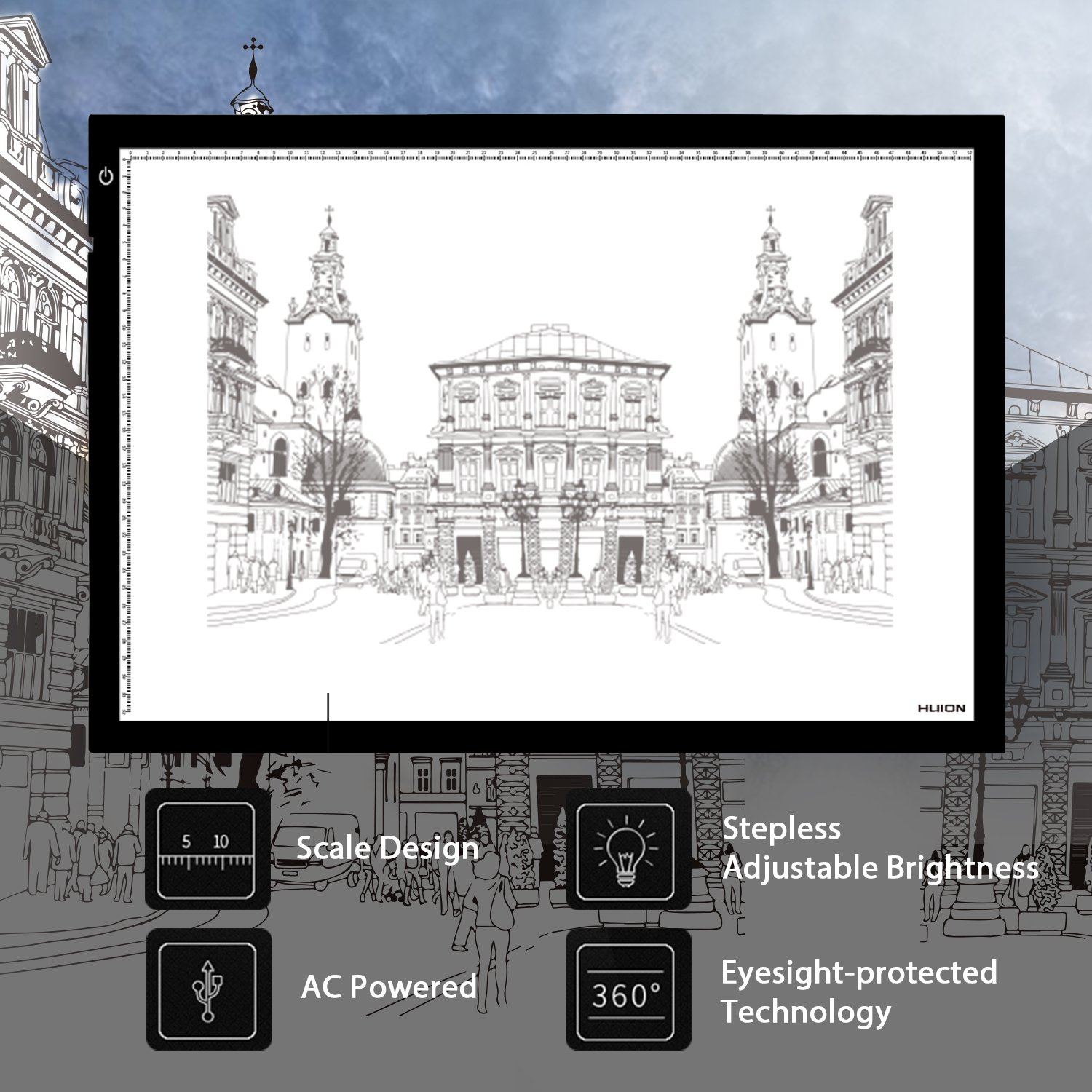 Long service life Huion L4S precise calibration and pinpointing ruler led USB power tracing light pad