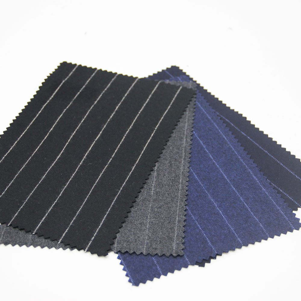 High Quality Classic Striped Worsted Wool Suiting Fabric