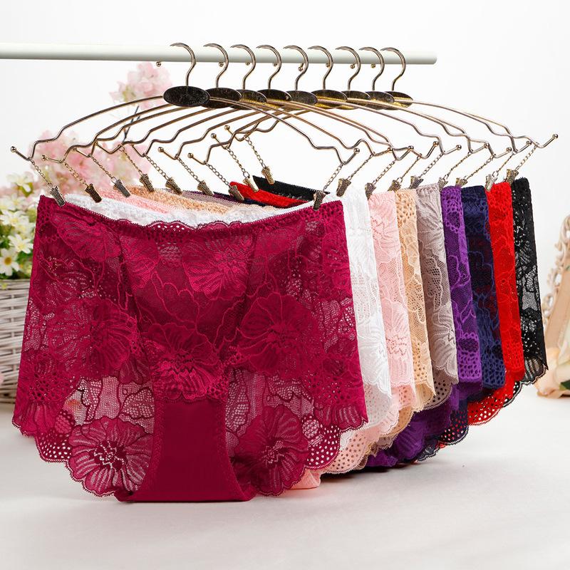 Middle-Waisted Panties Pants Women's Underpants girls Lace Panties