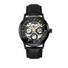 Black case, black dial, black leather, gold index and hands