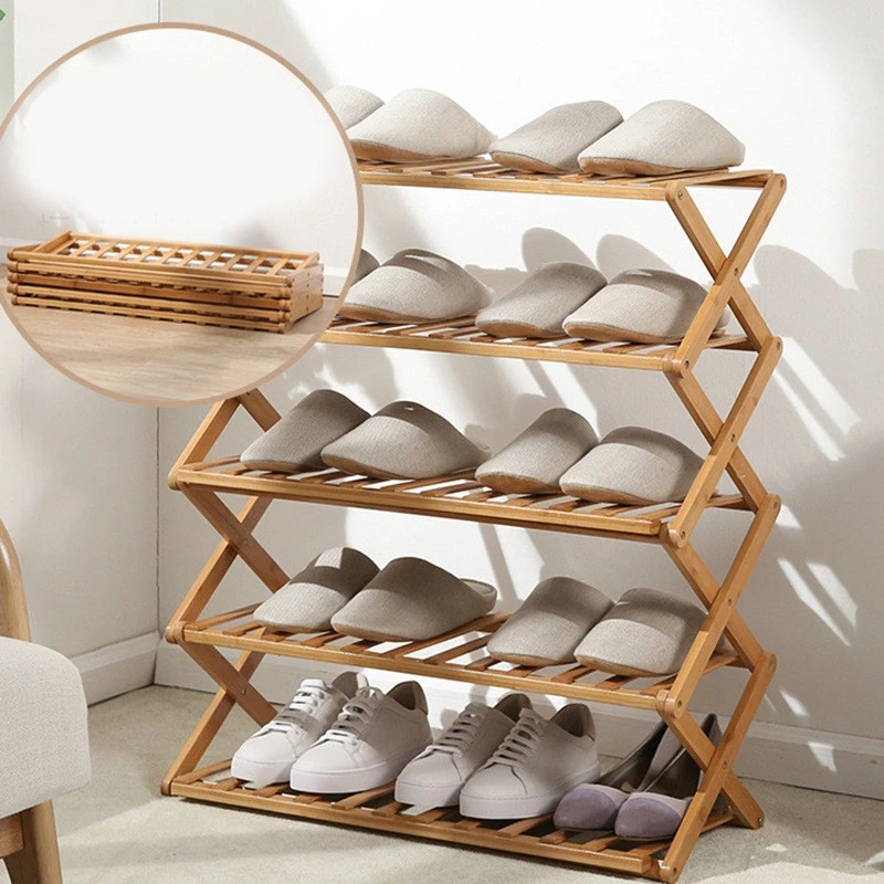 Amazon Top 3-6 Tier Customized Portable No Assembly Foldable Shoe Display Organizer Living Room Bamboo Shoe Rack Online