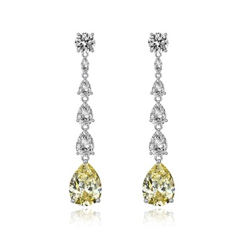 Fashion 925 Sterling Silver Rhodium Jewelry White Yellow Pear Drop Earrings for Women