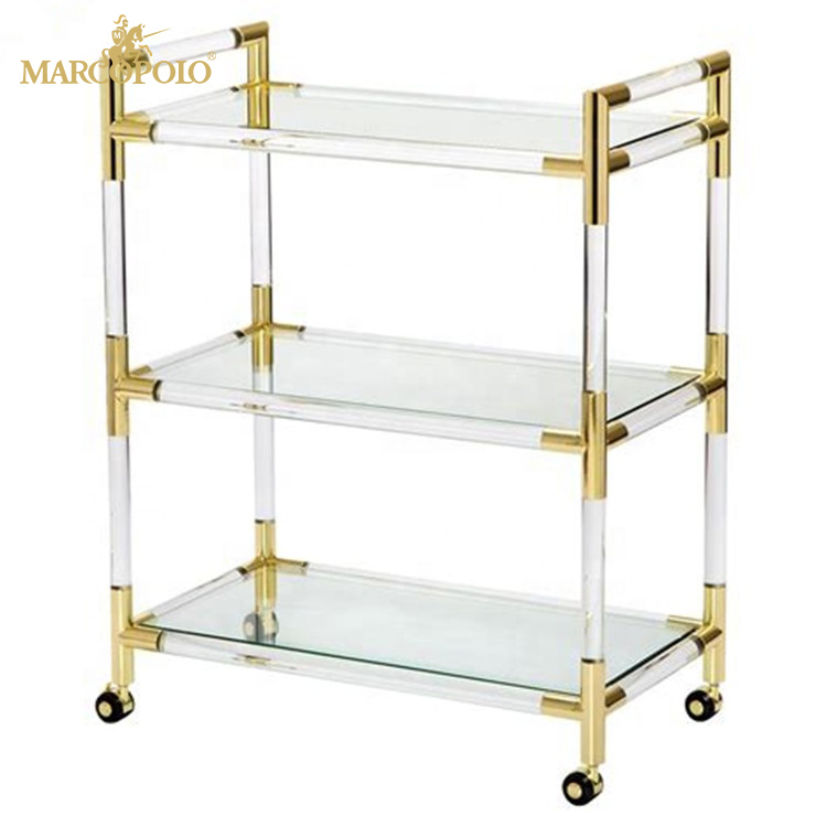 Clear acrylic serving cart hotel trolley room service cart restaurant service trolley