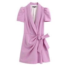 KPYTOMOA Женская мода офисная одежда 2020 шикарный Блейзер-стиль комбинезон винтажный кроссовер с v-образным вырезом Пышный рукав бант Завязываю...(Китай)