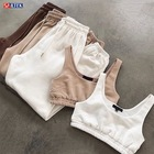 Pants 2 Piece Pants Set High Quality Custom Logo Joggers 2 Piece Crop Top 2 Piece Pants Set Comfy Cotton Workout Womens 2021 2 Piece Set