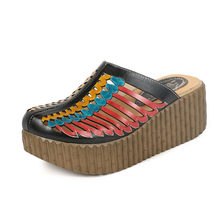 Летняя обувь 2020 года; женские шлепанцы с закрытым носком; женские шлепанцы ручной работы на толстых каблуках из натуральной кожи; шлепанцы н...(Китай)