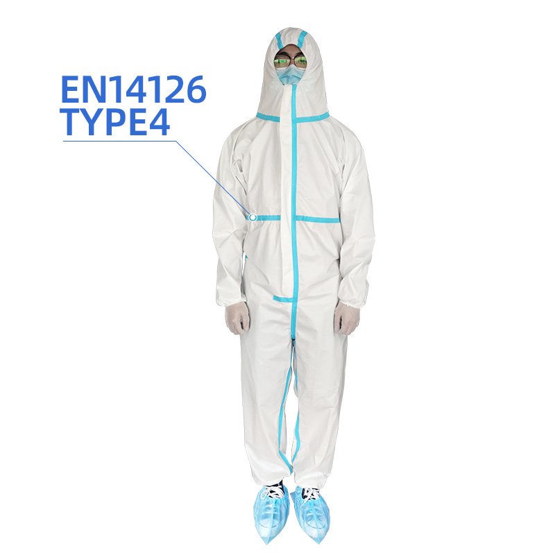disposable isolation gown PP+PE 63gsm non woven coated EN14126 type 4 waterproof coverall protection