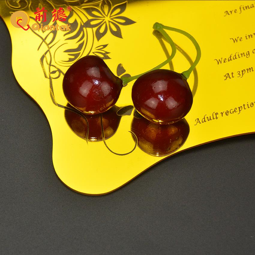 Роскошные золотые акриловые свадебные пригласительные открытки с лазерной резкой толщиной 2 мм