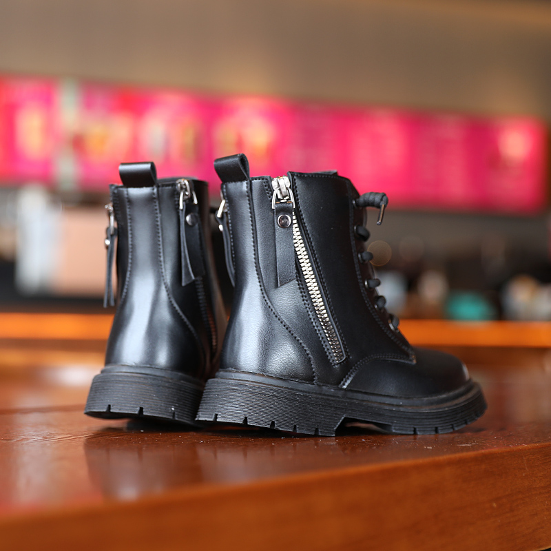 Модные Ботинки Martin на молнии для девочек; Сезон зима-осень; Модные ботинки из микрофибры; Botines Bottes Pour Filles