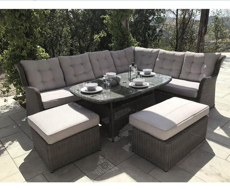 Плетеный садовый современный уличный обеденный диван, набор мебели для гостиной