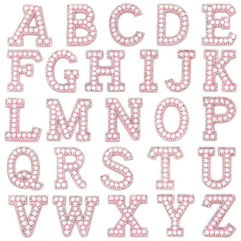 Нашивки с надписью из розового жемчуга со стразами, 3D аппликация из страз, аксессуары для одежды, ручная работа, нашивки со стразами для одежды