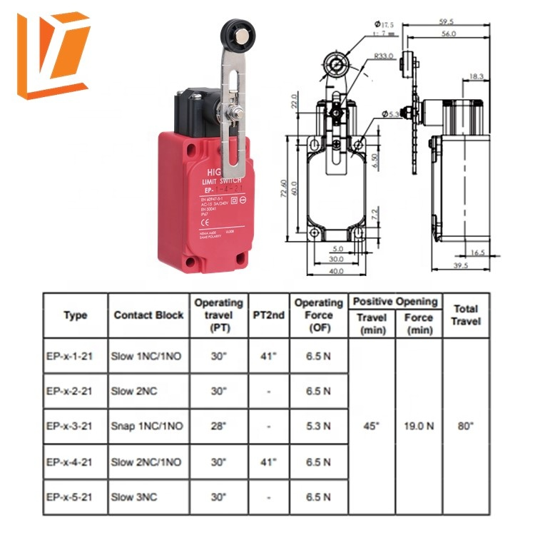 ip67 swing lever travel safety limit roller switch
