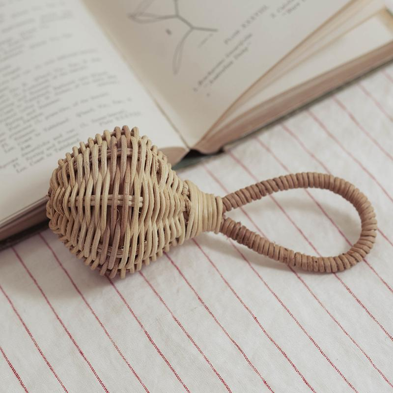 Woven Rattan Music Rattle Natural Baby Kids Toys