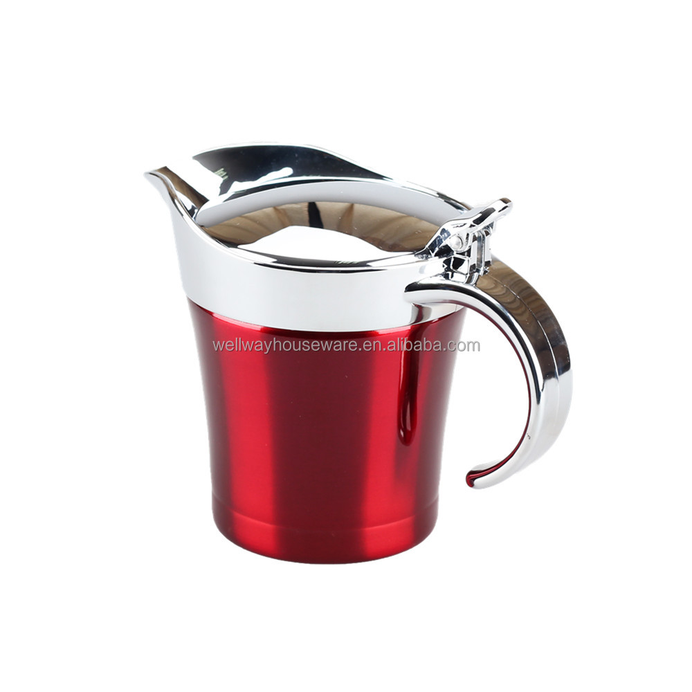 Stainless Steel 34oz Gravy Boat and Sauce Jug with Hinged Lid, Double Wall Insulated, Large 34 Fluid Ounces Capacity