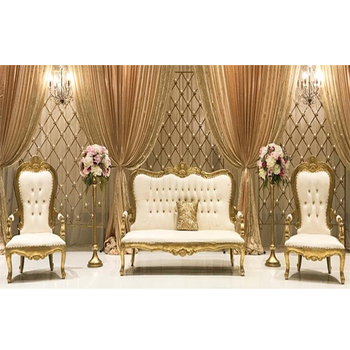 Wedding White Gold Finish Throne Sofa Set Royal palace Gold & Ivory Wedding Sofa Set King Queen Wedding Loveseat & Chairs
