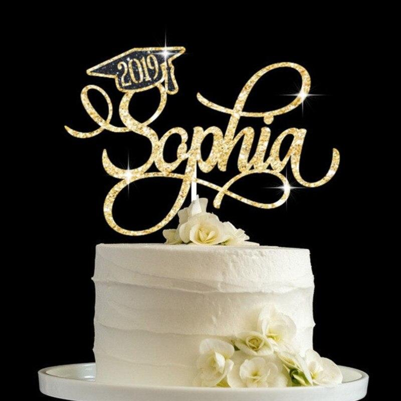 Custom name Graduate Cake topper Glitter