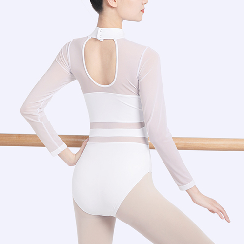 Training Leotard Long Sleeve Matching Fabric Stand Up Collar Loop Back Waisted Dancewear for Adults and Children