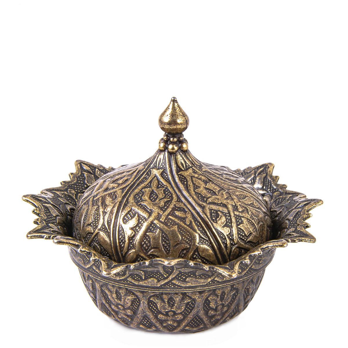 Ottoman Designed Copper Colored Covered Tea Coffee Sugar Turkish Delight Pot