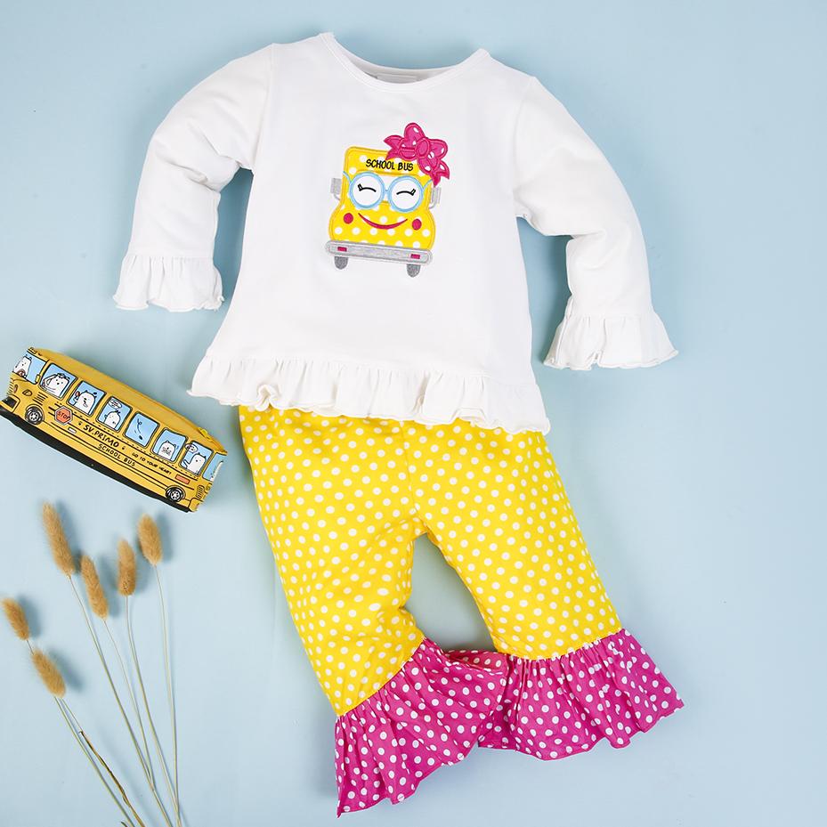 Cute school bus applique pants set for girls - BB2113